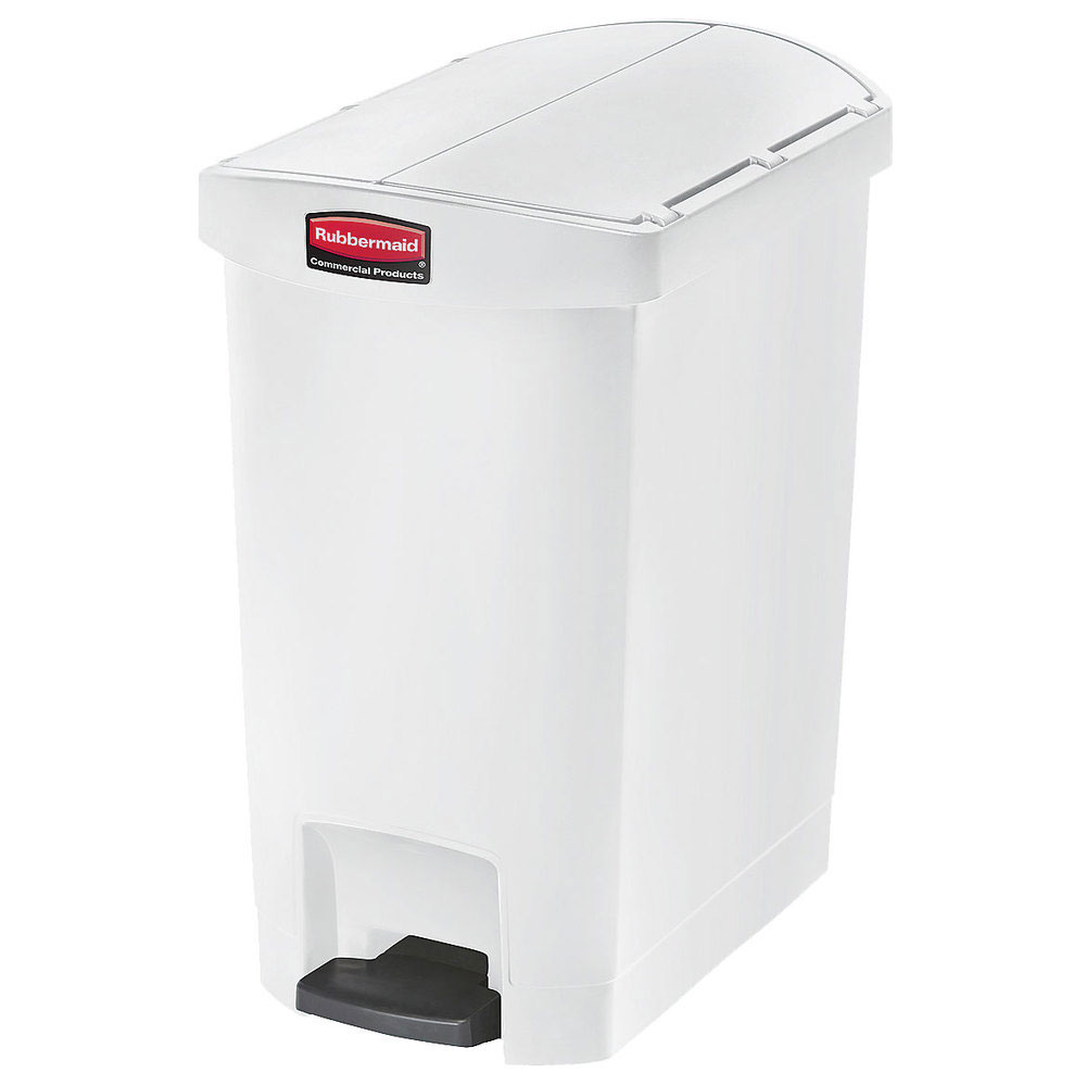 "Rubbermaid 1883556 8-gal Rectangle Plastic Step Trash Can, 19.55""L x 12.27""W x 22.27""H, White"