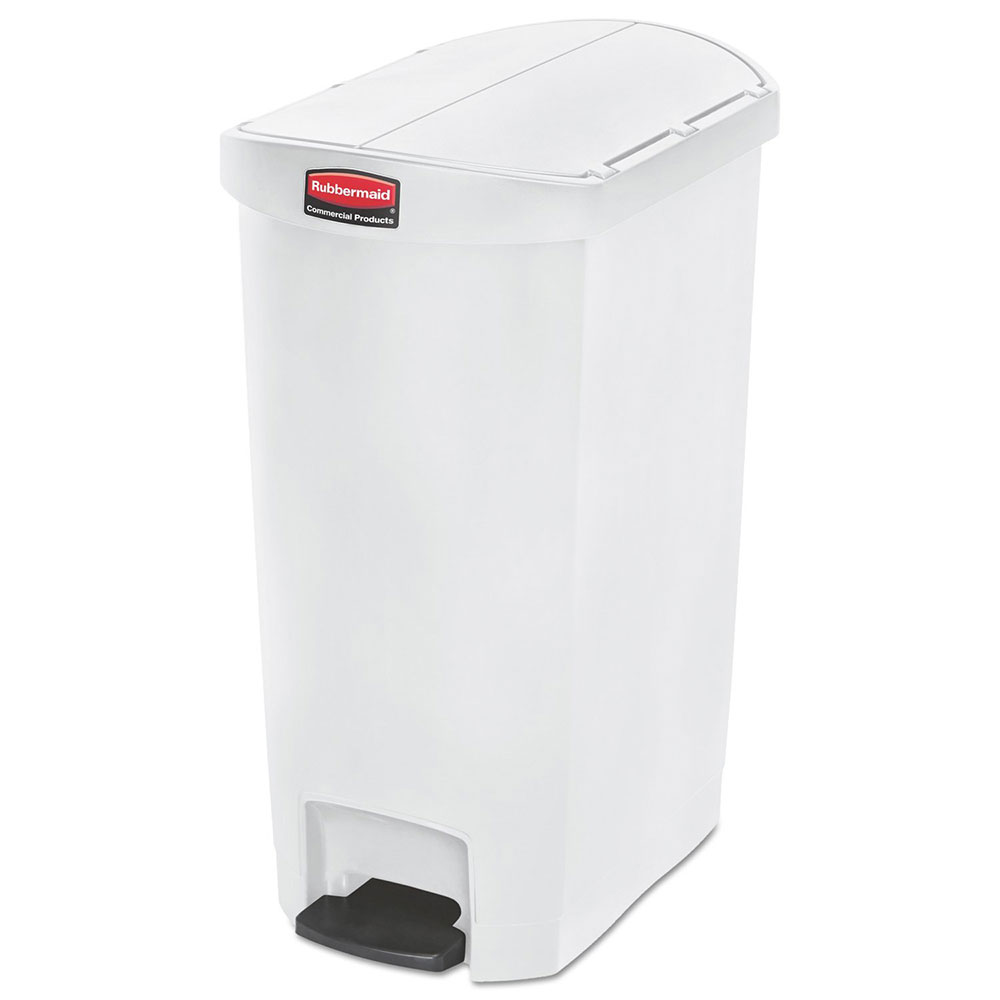 "Rubbermaid 1883558 13-gal Rectangle Plastic Step Trash Can, 20.75""L x 13.5""W x 28.38""H, White"