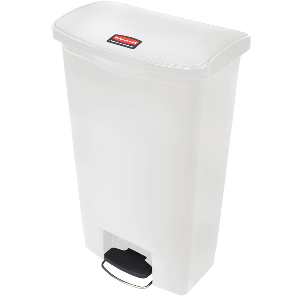 Rubbermaid 1883559 18-gal Slim Jim Step-On Utility Container w/ Hinged Lid - White