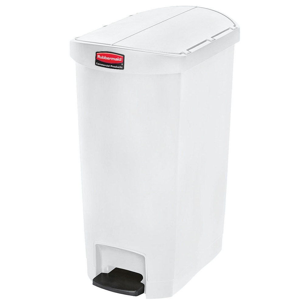 "Rubbermaid 1883560 18-gal Rectangle Plastic Step Trash Can, 22.11""L x 14.7""W x 30.77""H, White"