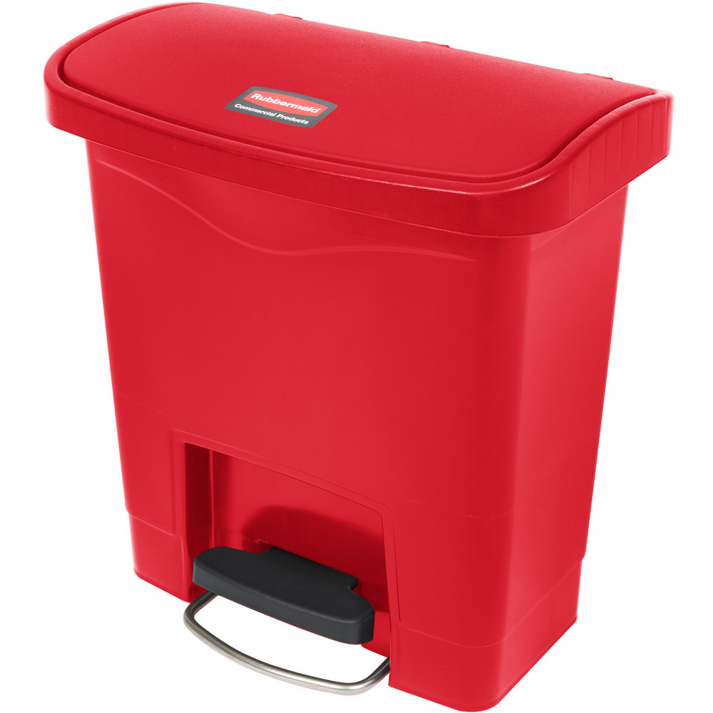 "Rubbermaid 1883563 4-gal Rectangle Plastic Step Trash Can, 14.81""L x 9.06""W x 15.69""H, Red"