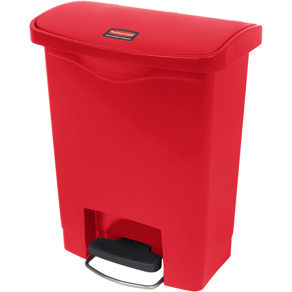 "Rubbermaid 1883564 8-gal Rectangle Plastic Step Trash Can, 16.73""L x 10.66""W x 21.11""H, Red"