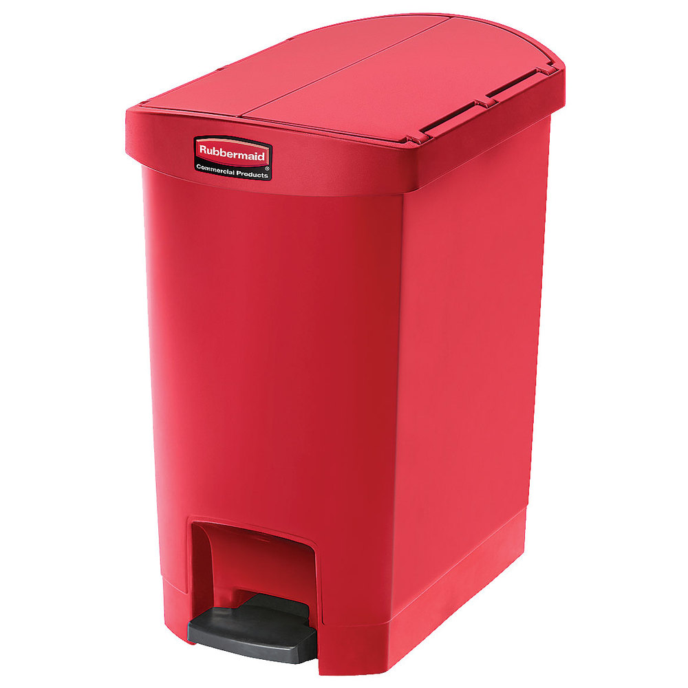 "Rubbermaid 1883565 8-gal Rectangle Plastic Step Trash Can, 19.55""L x 12.27""W x 22.27""H, Red"