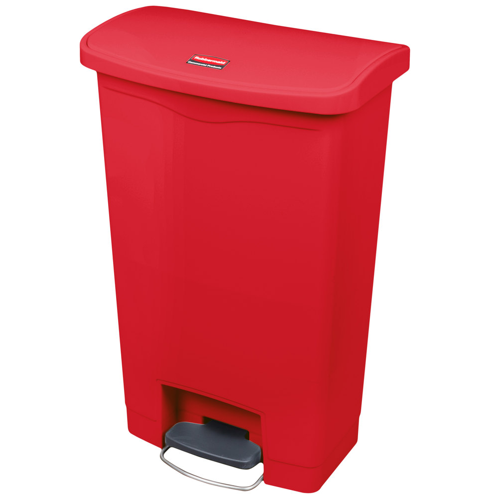 Rubbermaid 1883566 13-gal Slim Jim Step-On Utility Container w/ Hinged Lid - Red