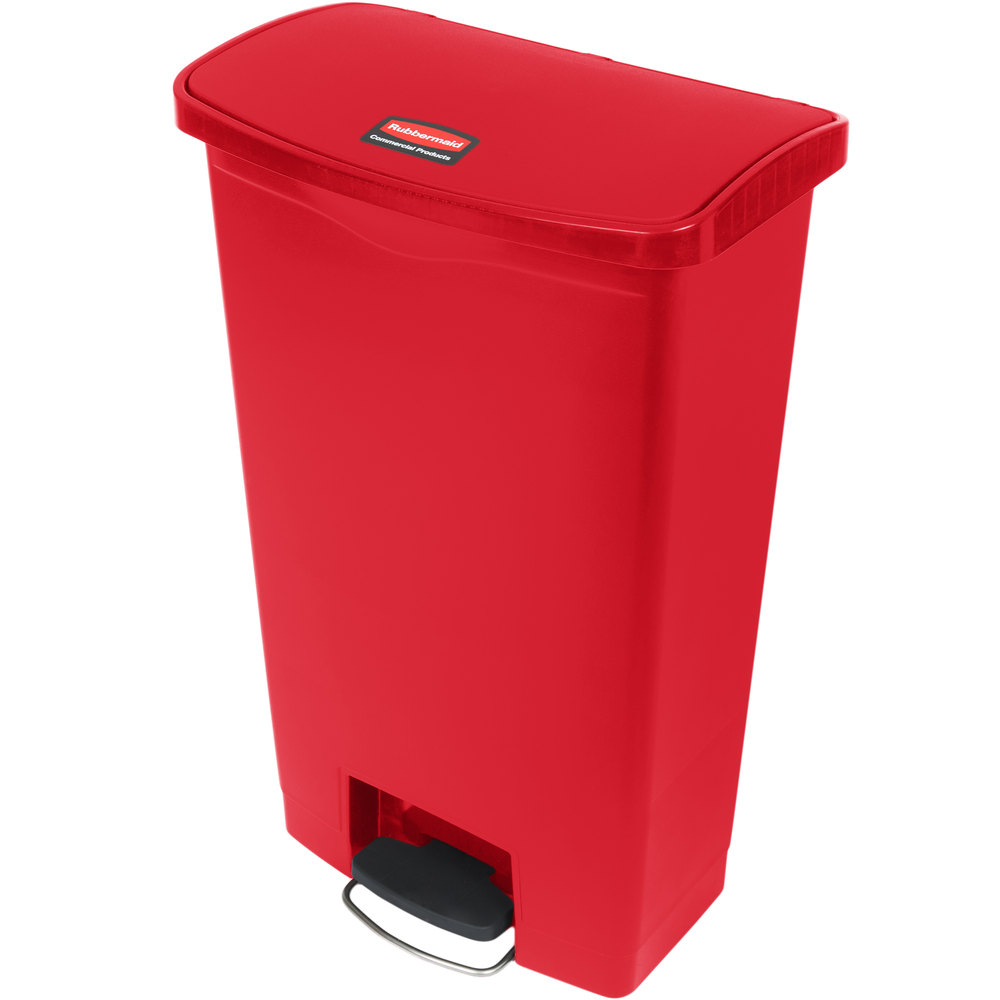"Rubbermaid 1883568 18-gal Rectangle Plastic Step Trash Can, 19.67""L x 12.23""W x 31.61""H, Red"