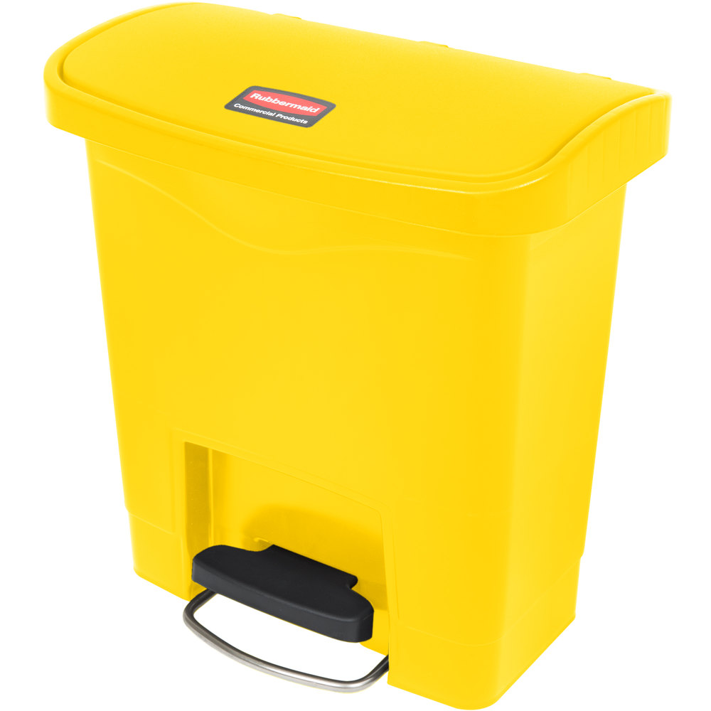 "Rubbermaid 1883572 4-gal Rectangle Plastic Step Trash Can, 14.81""L x 9.06""W x 15.69""H, Yellow"