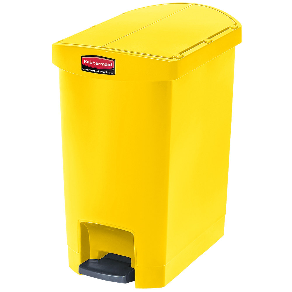 "Rubbermaid 1883574 8-gal Rectangle Plastic Step Trash Can, 19.55""L x 12.27""W x 22.27""H, Yellow"