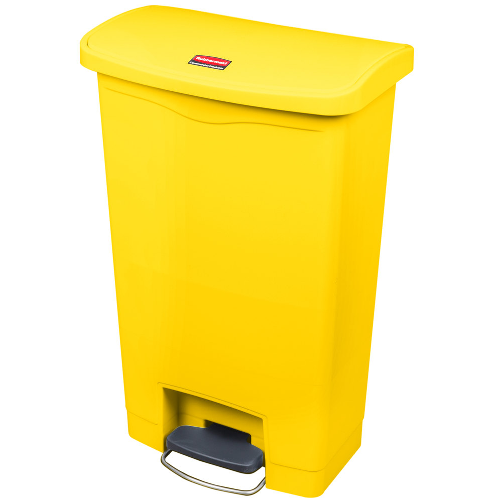 "Rubbermaid 1883575 13-gal Rectangle Plastic Step Trash Can, 17.97""L x 11.48""W x 28.3""H, Yellow"