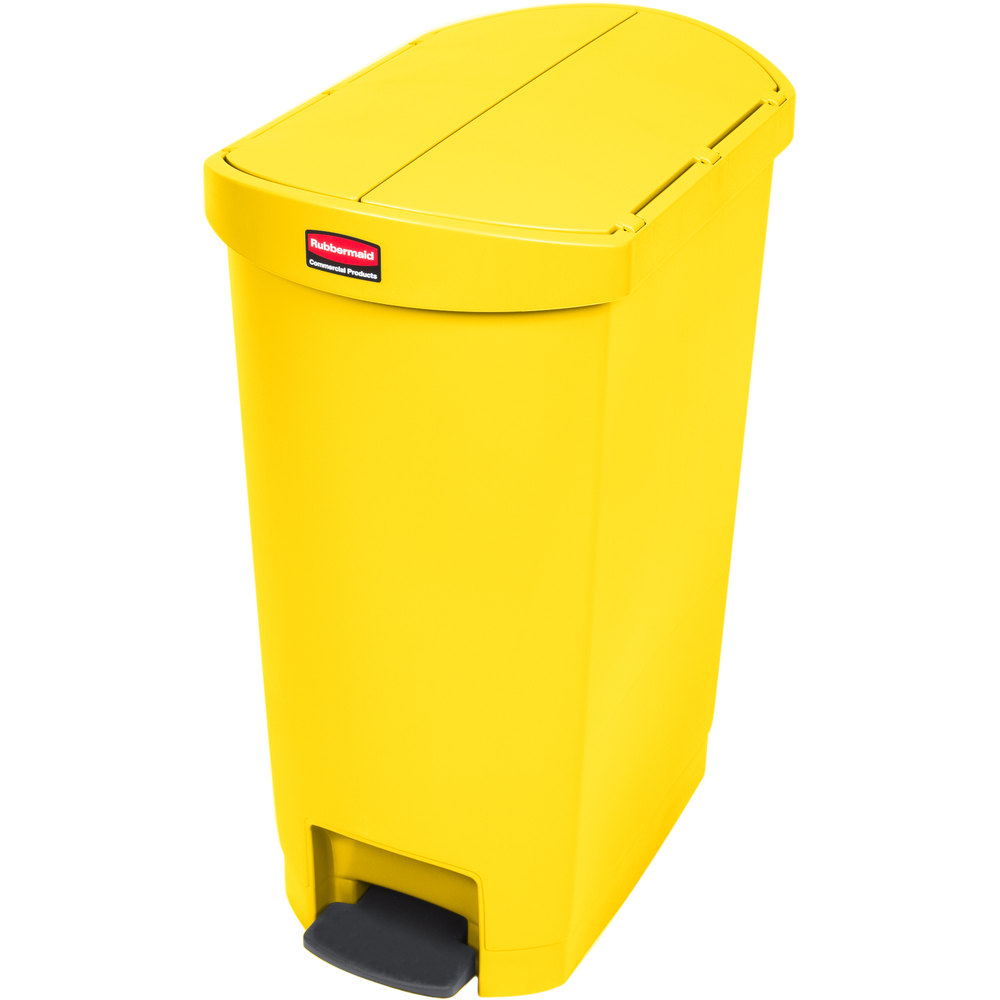 "Rubbermaid 1883576 13-gal Rectangle Plastic Step Trash Can, 20.75""L x 13.5""W x 28.38""H, Yellow"