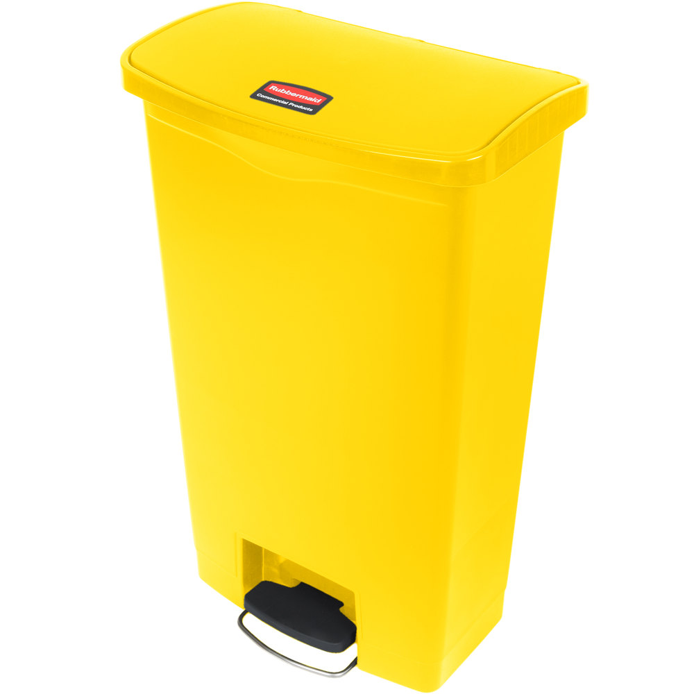 "Rubbermaid 1883577 18-gal Rectangle Plastic Step Trash Can, 19.67""L x 12.23""W x 31.61""H, Yellow"