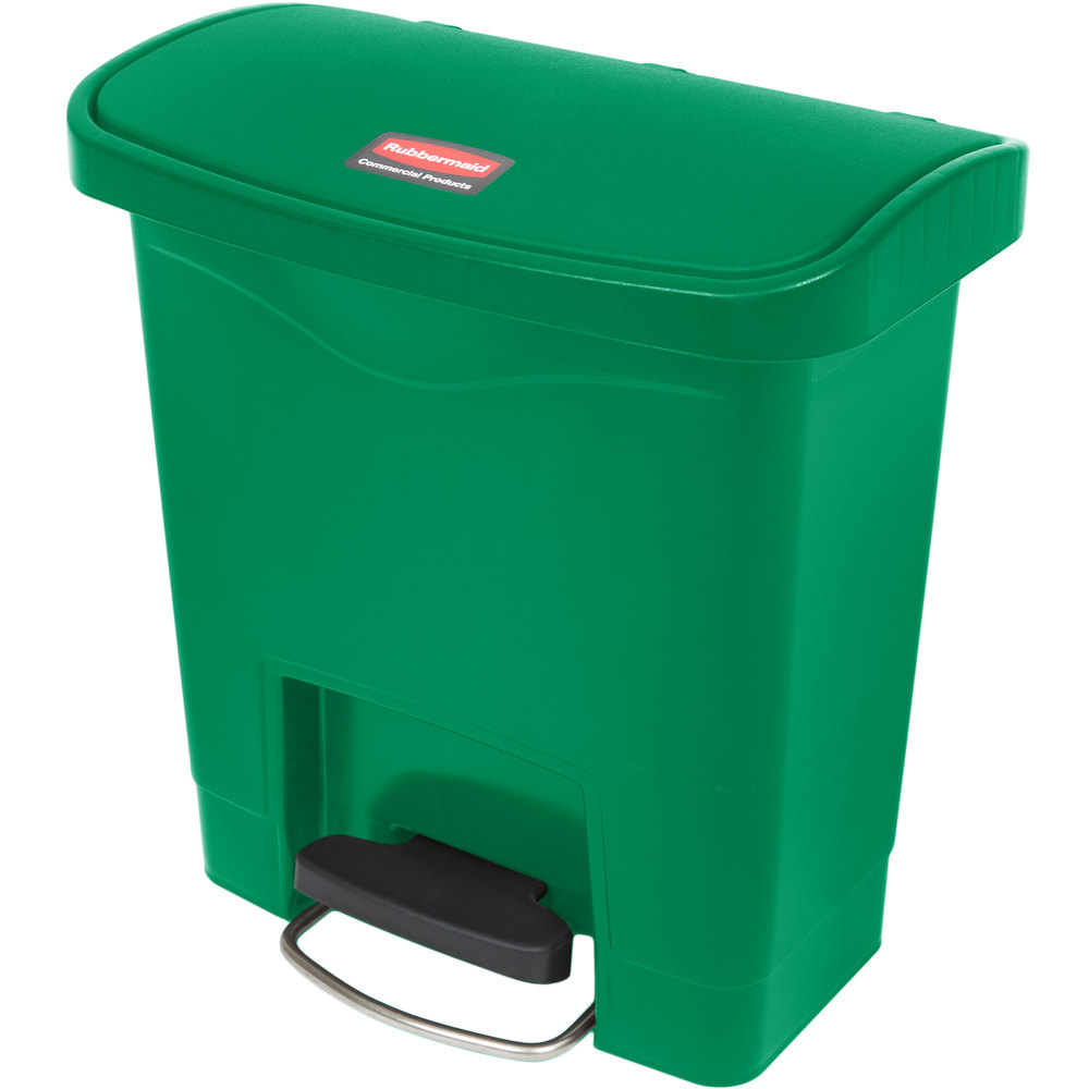 "Rubbermaid 1883581 4-gal Rectangle Plastic Step Trash Can, 14.81""L x 9.06""W x 15.69""H, Green"