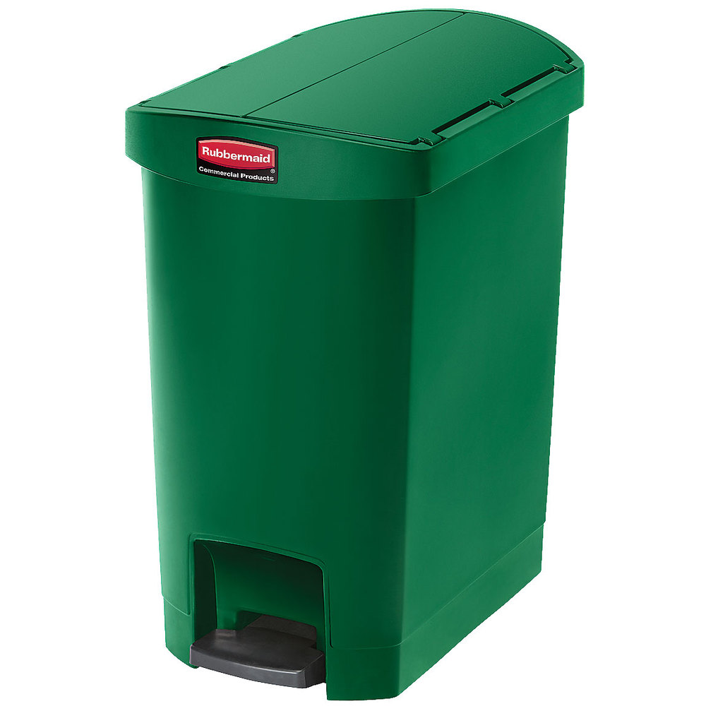 "Rubbermaid 1883583 8-gal Rectangle Plastic Step Trash Can, 19.55""L x 12.27""W x 22.27""H, Green"