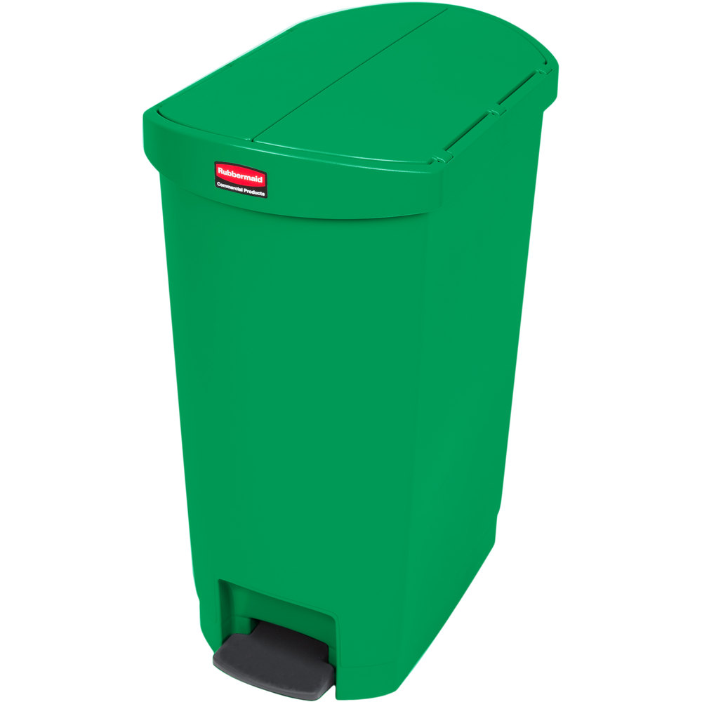 "Rubbermaid 1883585 13-gal Rectangle Plastic Step Trash Can, 20.75""L x 13.5""W x 28.38""H, Green"