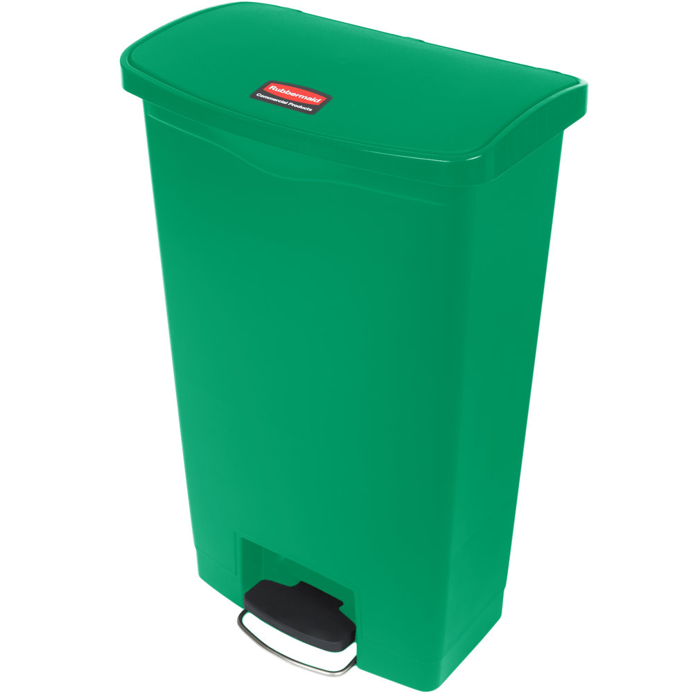 "Rubbermaid 1883586 18-gal Rectangle Plastic Step Trash Can, 19.67""L x 12.23""W x 31.61""H, Green"