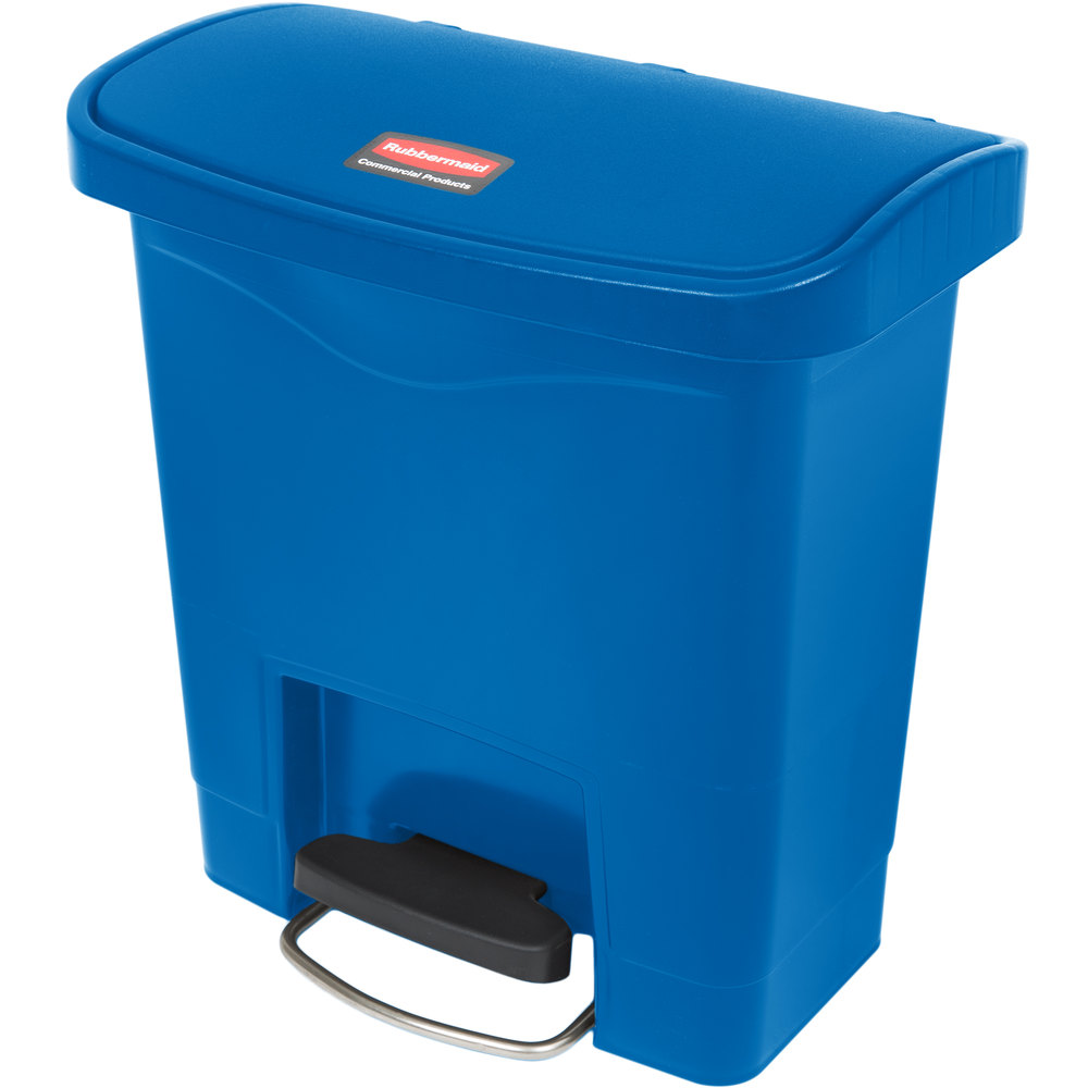 "Rubbermaid 1883590 4-gal Rectangle Plastic Step Trash Can, 14.81""L x 9.06""W x 15.69""H, Blue"