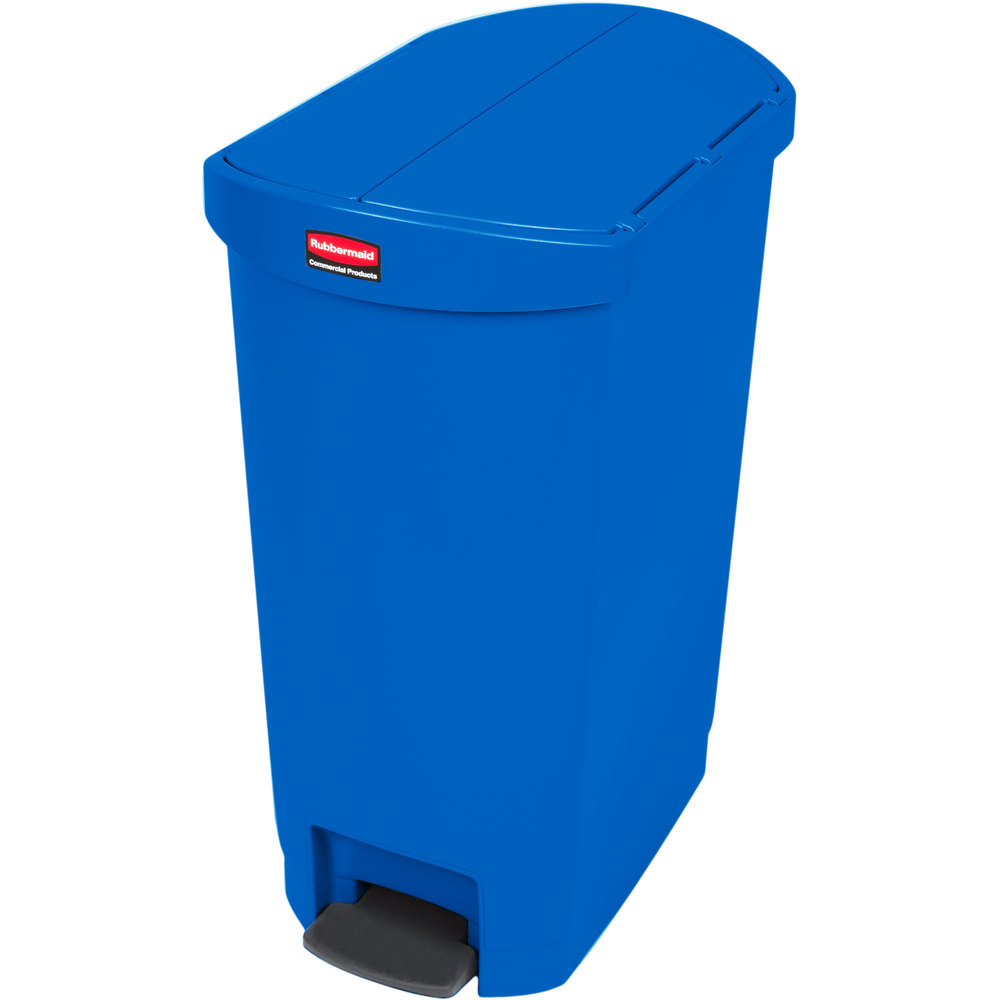 rubbermaid 1883594 13 gal rectangle plastic step trash can x 13 5 w x blue. Black Bedroom Furniture Sets. Home Design Ideas