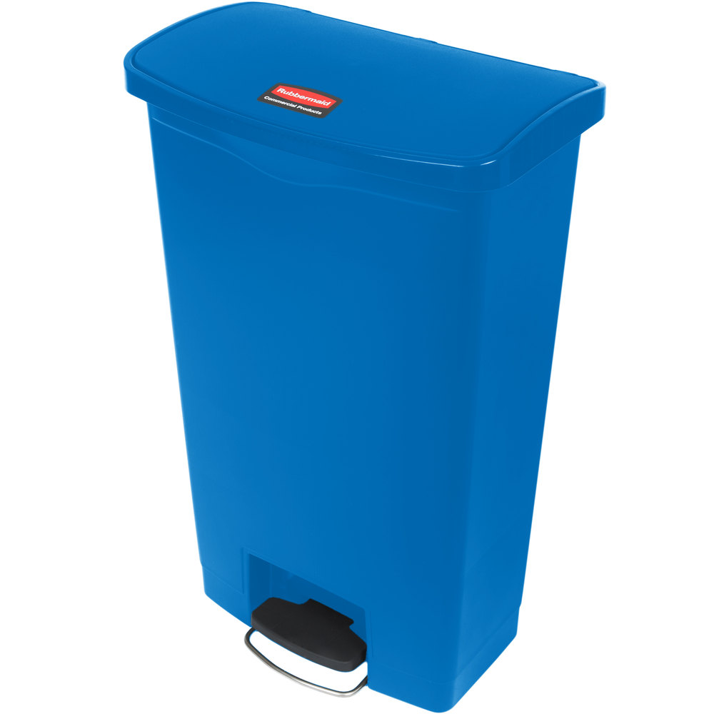 "Rubbermaid 1883595 18-gal Rectangle Plastic Step Trash Can, 19.67""L x 12.23""W x 31.61""H, Blue"