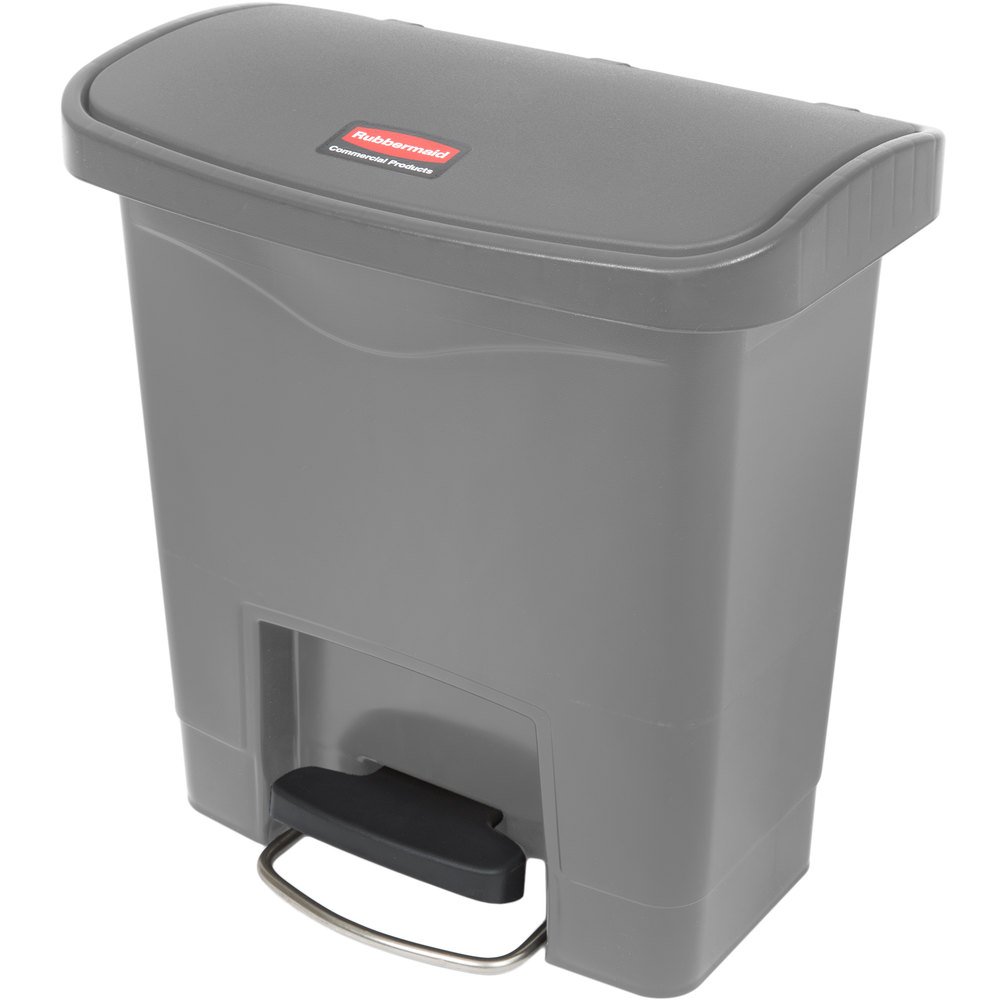 "Rubbermaid 1883599 4-gal Rectangle Plastic Step Trash Can, 14.81""L x 9.06""W x 15.69""H, Gray"