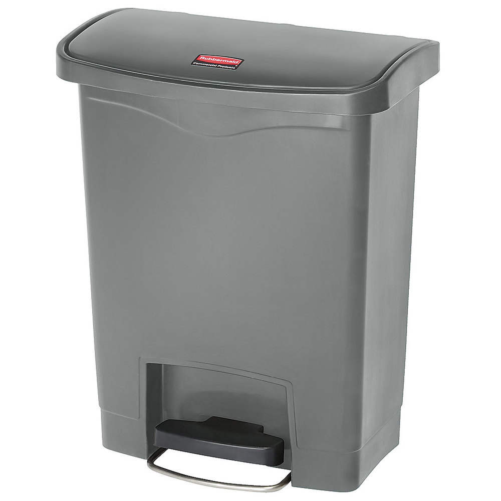 "Rubbermaid 1883600 8-gal Rectangle Plastic Step Trash Can, 16.73""L x 10.66""W x 21.11""H, Gray"
