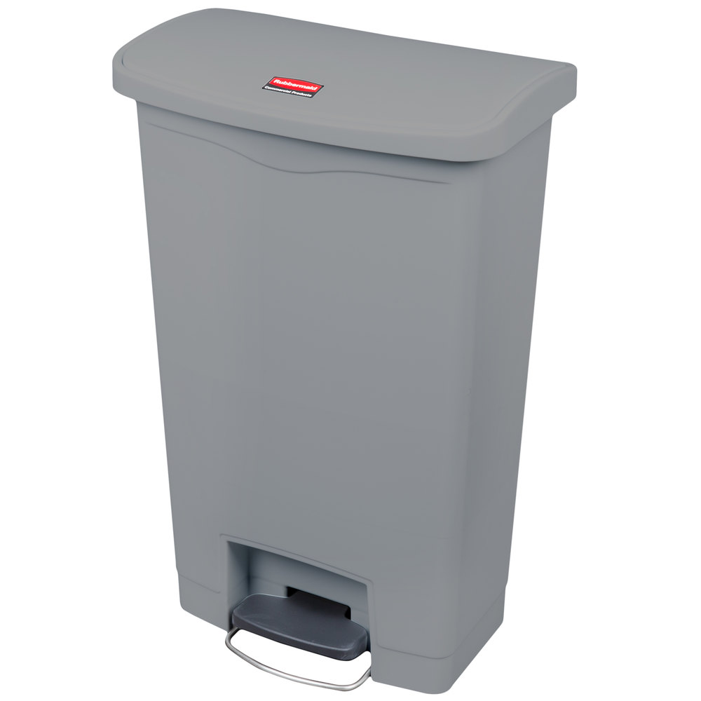 "Rubbermaid 1883602 13-gal Rectangle Plastic Step Trash Can, 17.97""L x 11.48""W x 28.3""H, Gray"