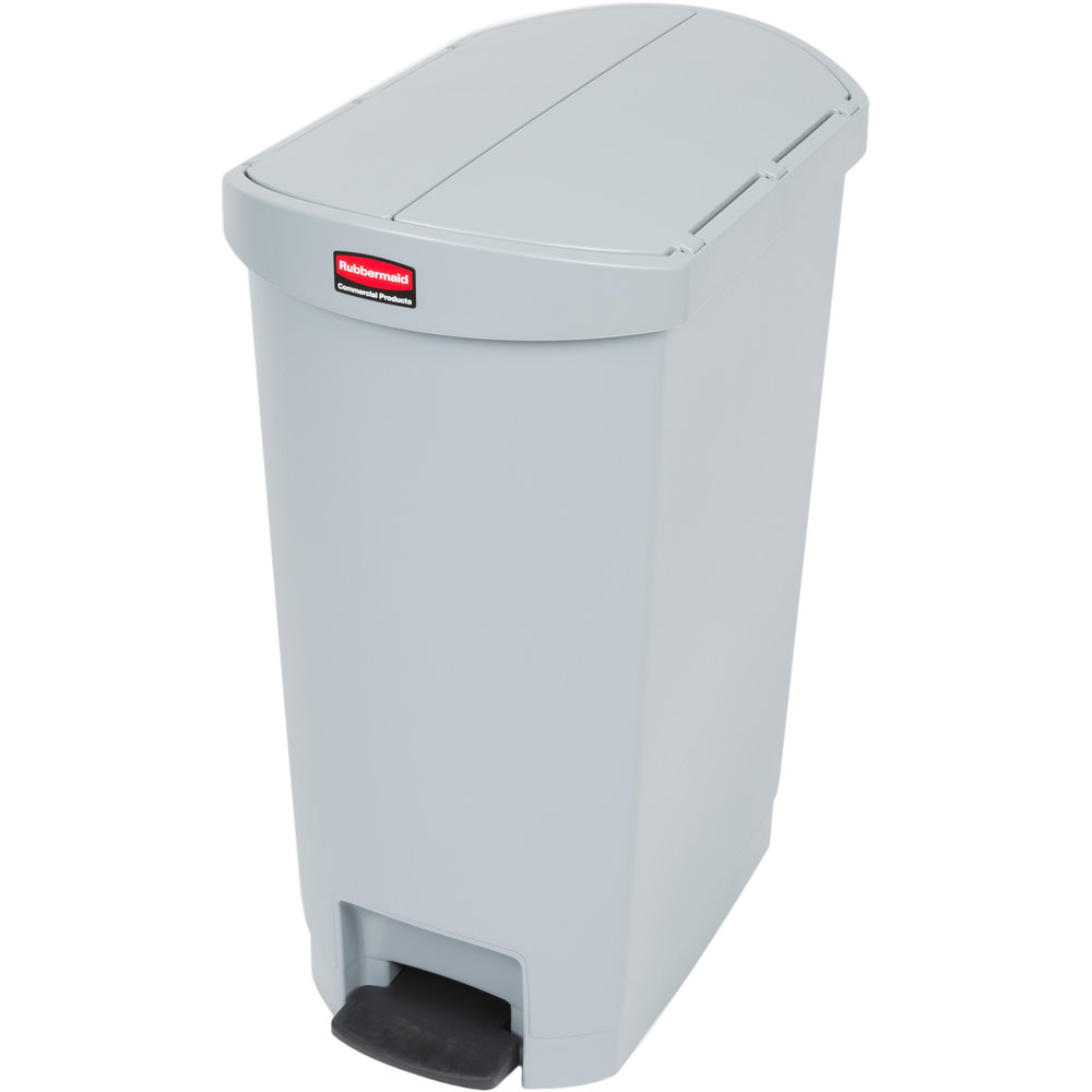 "Rubbermaid 1883603 13-gal Rectangle Plastic Step Trash Can, 20.75""L x 13.5""W x 28.38""H, Gray"