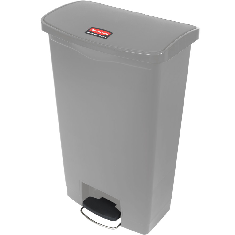 "Rubbermaid 1883604 18-gal Rectangle Plastic Step Trash Can, 19.67""L x 12.23""W x 31.61""H, Gray"