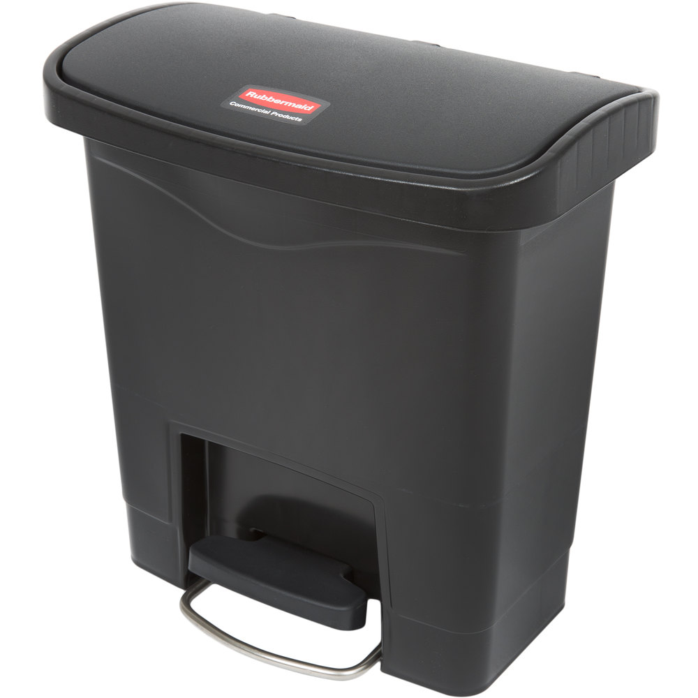 "Rubbermaid 1883608 4-gal Rectangle Plastic Step Trash Can, 14.81""L x 9.06""W x 15.69""H, Black"