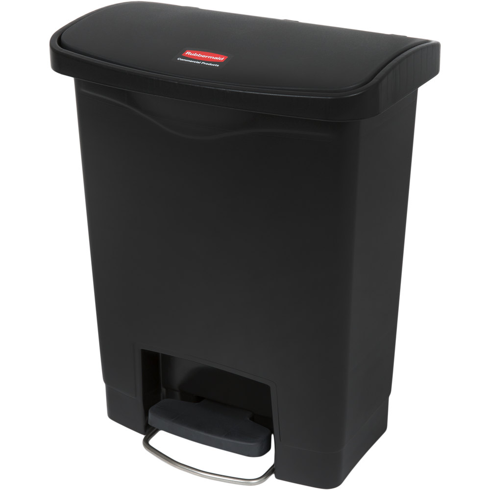"Rubbermaid 1883609 8-gal Rectangle Plastic Step Trash Can, 16.73""L x 10.66""W x 21.11""H, Black"