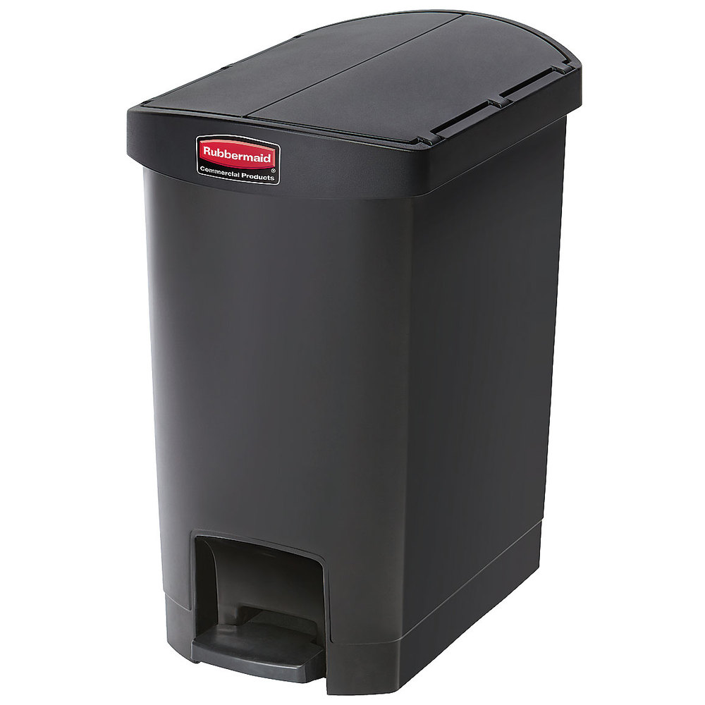 rubbermaid 1883610 8 gal rectangle plastic step trash can x x black. Black Bedroom Furniture Sets. Home Design Ideas