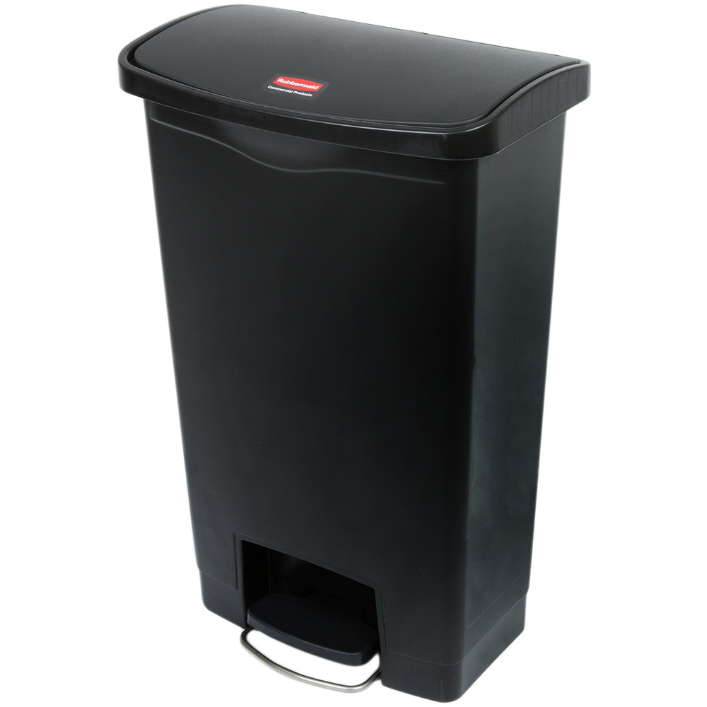 "Rubbermaid 1883611 13-gal Rectangle Plastic Step Trash Can, 17.97""L x 11.48""W x 28.3""H, Black"
