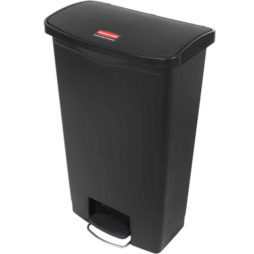 "Rubbermaid 1883613 18-gal Rectangle Plastic Step Trash Can, 19.67""L x 12.23""W x 31.61""H, Black"