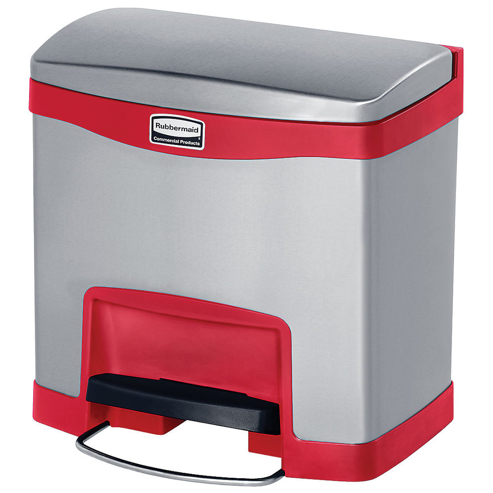 Rubbermaid 1901983 4-gal Slim Jim Step-On Utility Container w/ Hinged Lid - Red