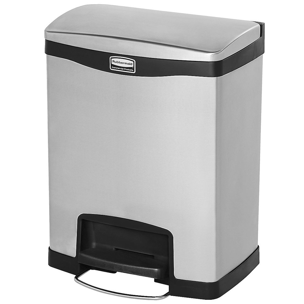 "Rubbermaid 1901985 8-gal Rectangle Metal Step Trash Can, 16.83""W x 12.83""D x 21.13""H, Black"