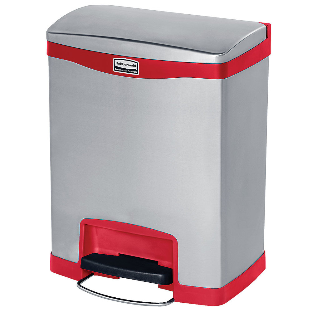 "Rubbermaid 1901988 8-gal Rectangle Metal Step Trash Can, 16.83""W x 12.83""D x 21.13""H, Red"
