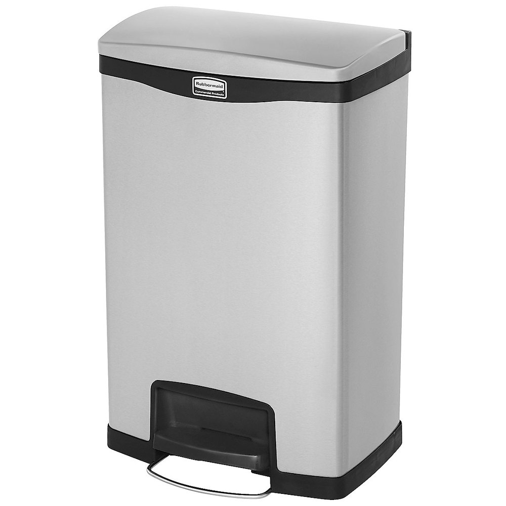 "Rubbermaid 1901992 13-gal Rectangle Metal Step Trash Can, 18.11""L x 13.7""W x 28.66""H, Red"