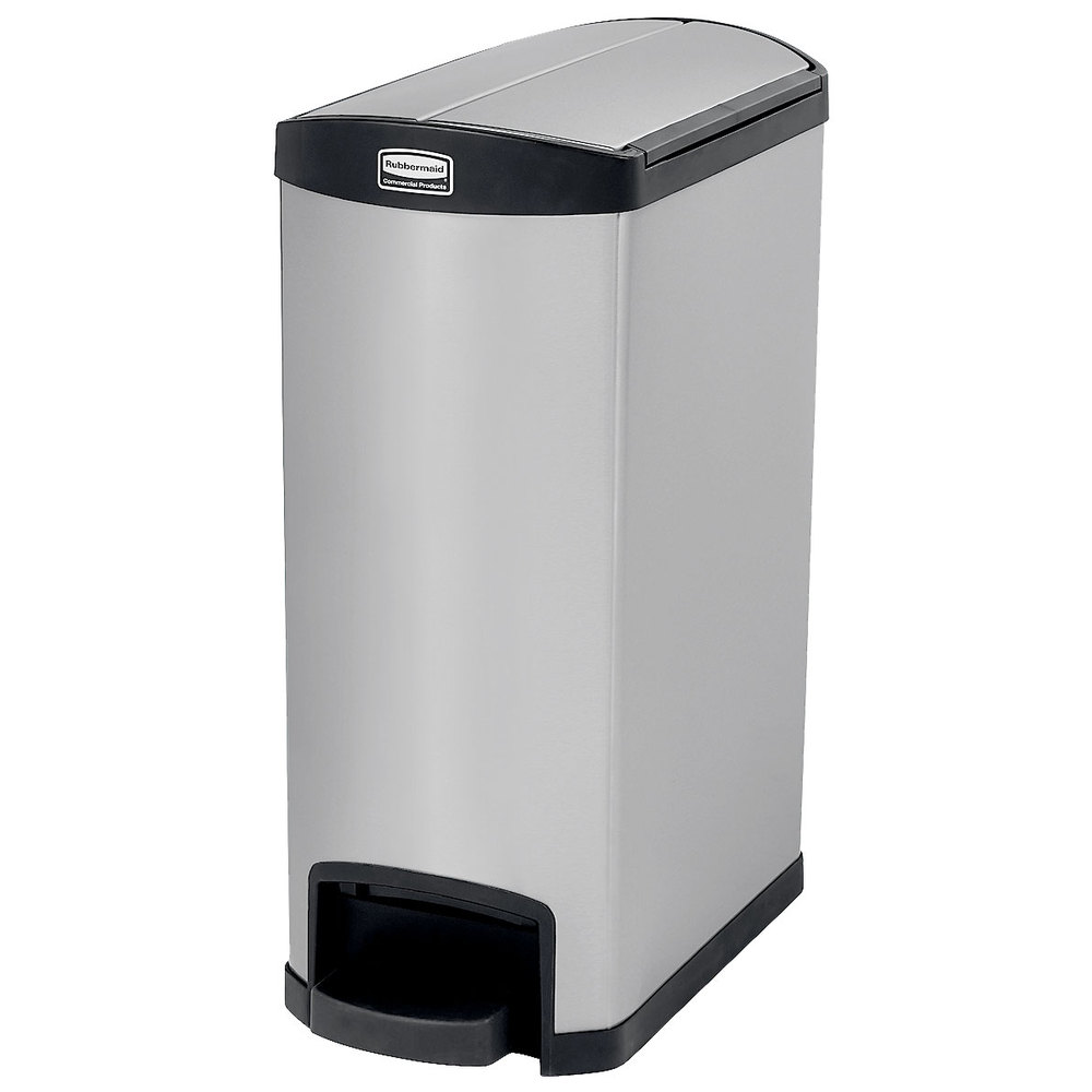 """Rubbermaid 1901993 13-gal Rectangle Metal Step Trash Can, 22.67""""L x 11.61""""W x 28.86""""H, Red"""
