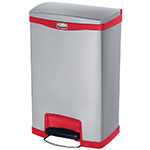 "Rubbermaid 1901995 13-gal Rectangle Metal Step Trash Can, 18.11""L x 13.7""W x 28.66""H, Red"