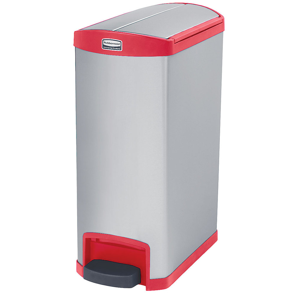 rubbermaid 1901996 13 gal rectangle metal step trash can x x red. Black Bedroom Furniture Sets. Home Design Ideas