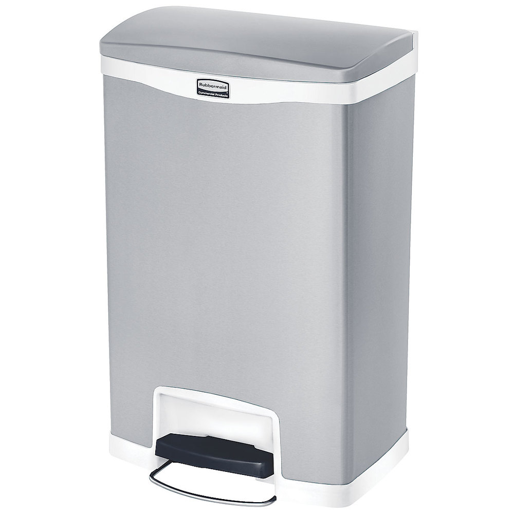 """Rubbermaid 1901997 13-gal Rectangle Metal Step Trash Can, 18.11""""L x 13.7""""W x 28.66""""H, Red"""