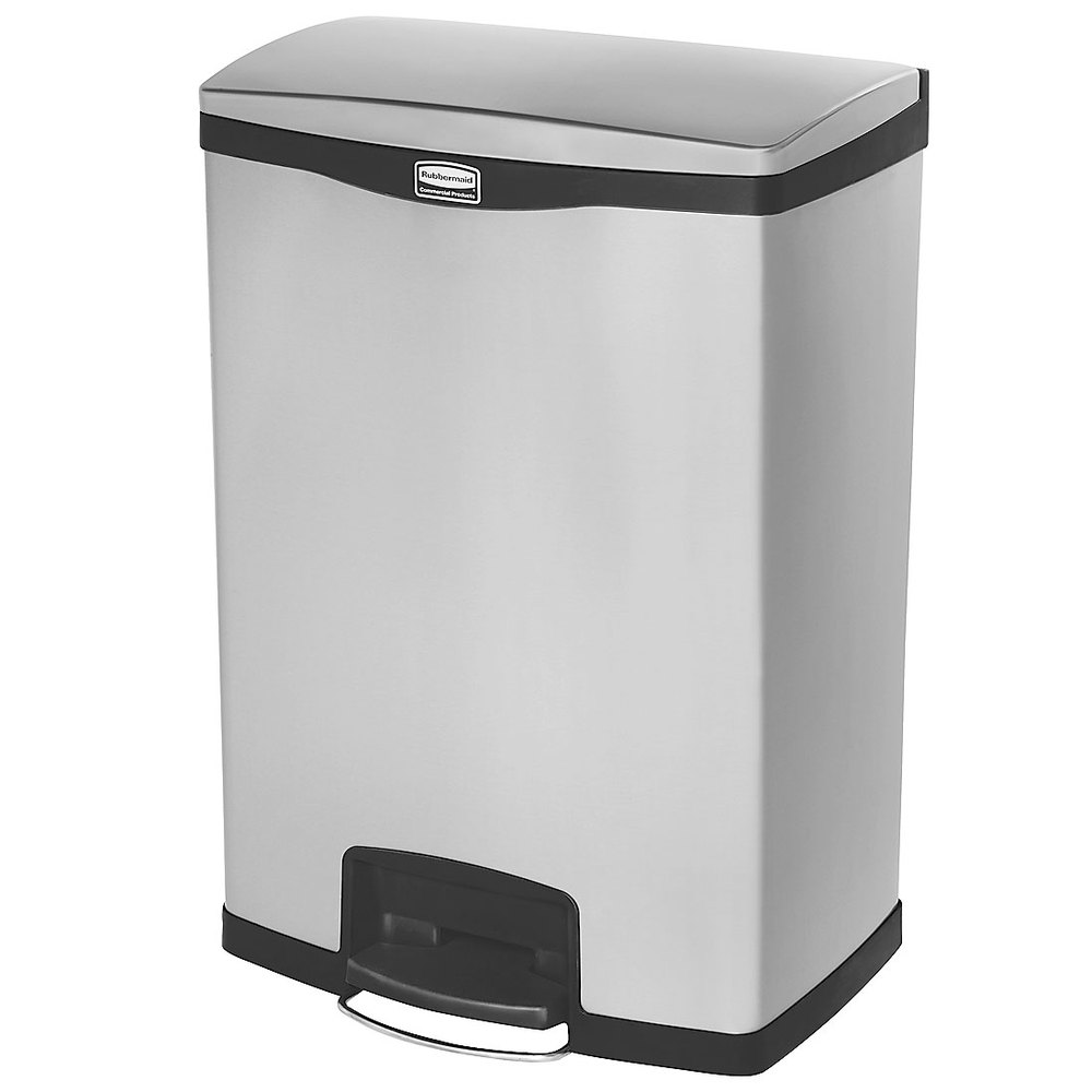 "Rubbermaid 1901999 4-gal Rectangle Metal Step Trash Can,  21.8""L x 16.23""W x 31.83""H, Black"
