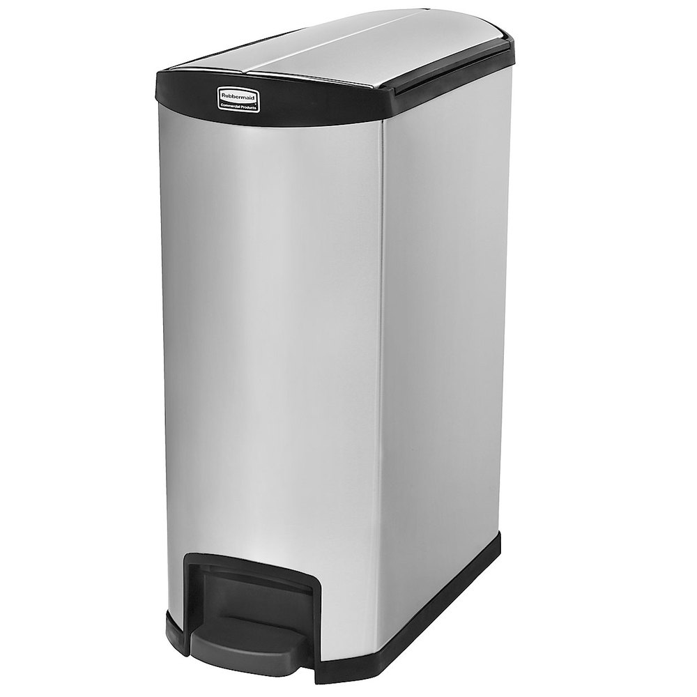"Rubbermaid 1902000 4-gal Rectangle Metal Step Trash Can, 27.17""L x 13.11""W x 32.84""H, Black"