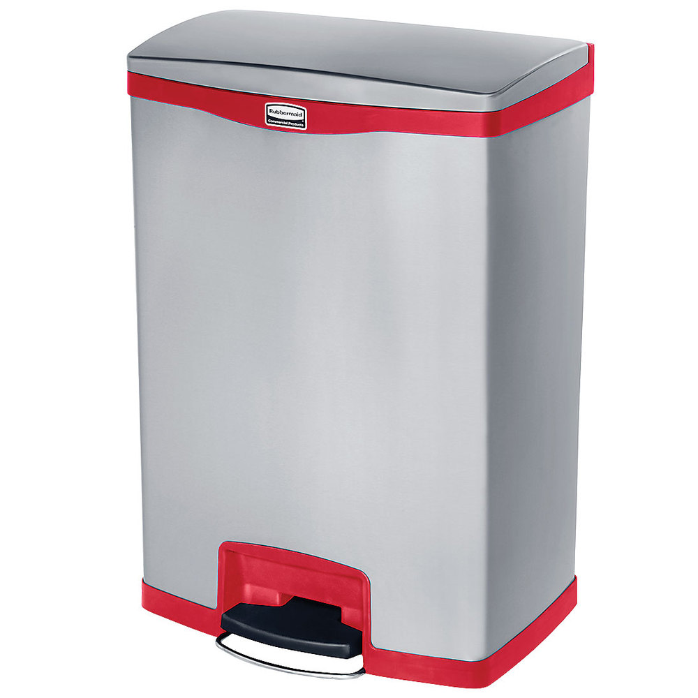 "Rubbermaid 1902002 4-gal Rectangle Metal Step Trash Can,  21.8""L x 16.23""W x 31.83""H, Red"