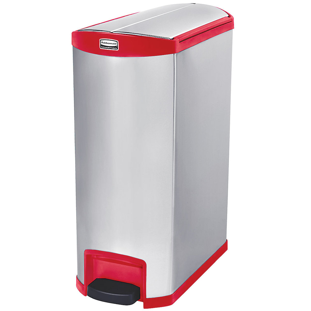 "Rubbermaid 1902003 4-gal Rectangle Metal Step Trash Can, 27.17""L x 13.11""W x 32.84""H, Red"