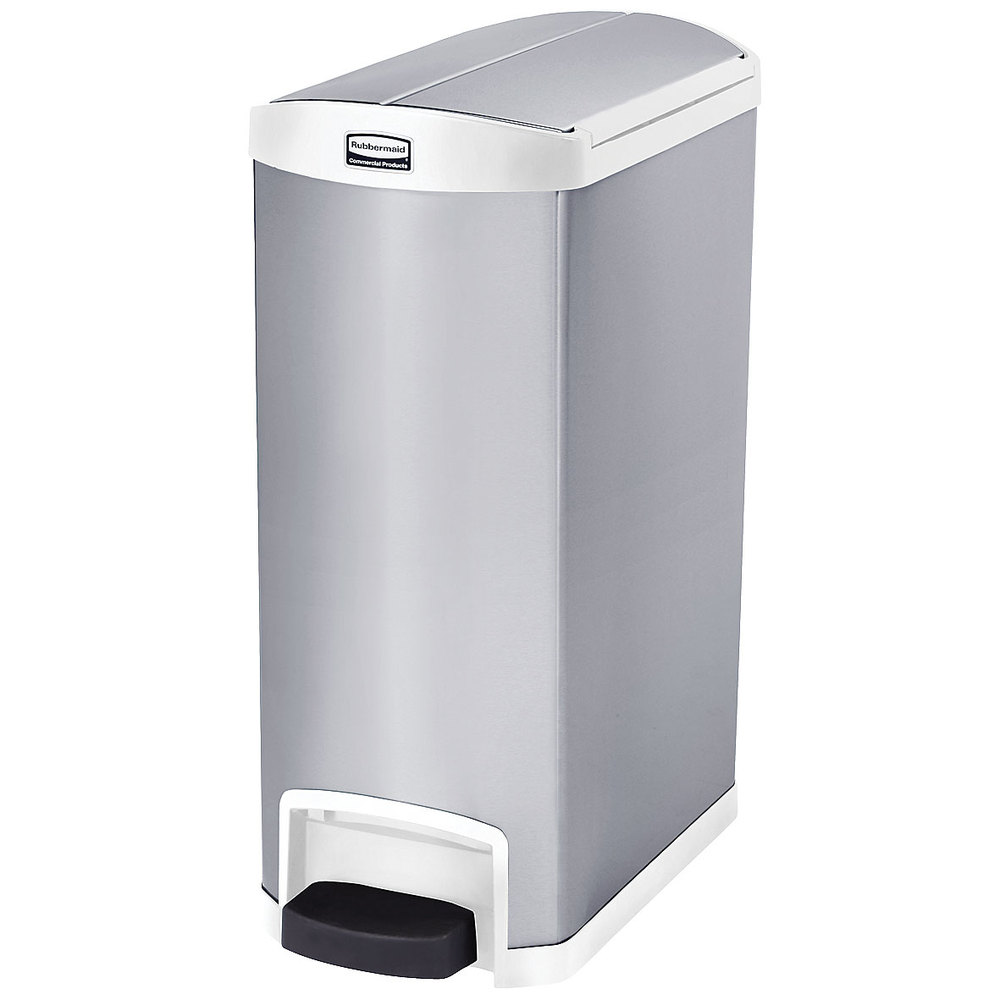 "Rubbermaid 1902005 4-gal Rectangle Metal Step Trash Can, 27.17""L x 13.11""W x 32.84""H, White"