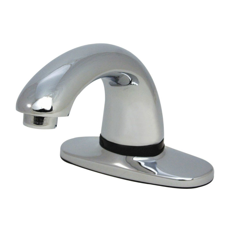 "Rubbermaid 1903288 Deck Mount Auto Faucet - 4"" Centers, Touch Free, Chrome"