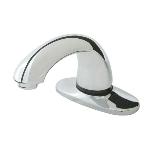 """Rubbermaid 1903292 Deck Mount Auto Faucet - 4"""" Centers, Touch Free, Chrome"""