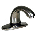 "Rubbermaid 1903295 Deck Mount Auto Faucet - 4"" Centers, Touch Free, Satin Nickel"