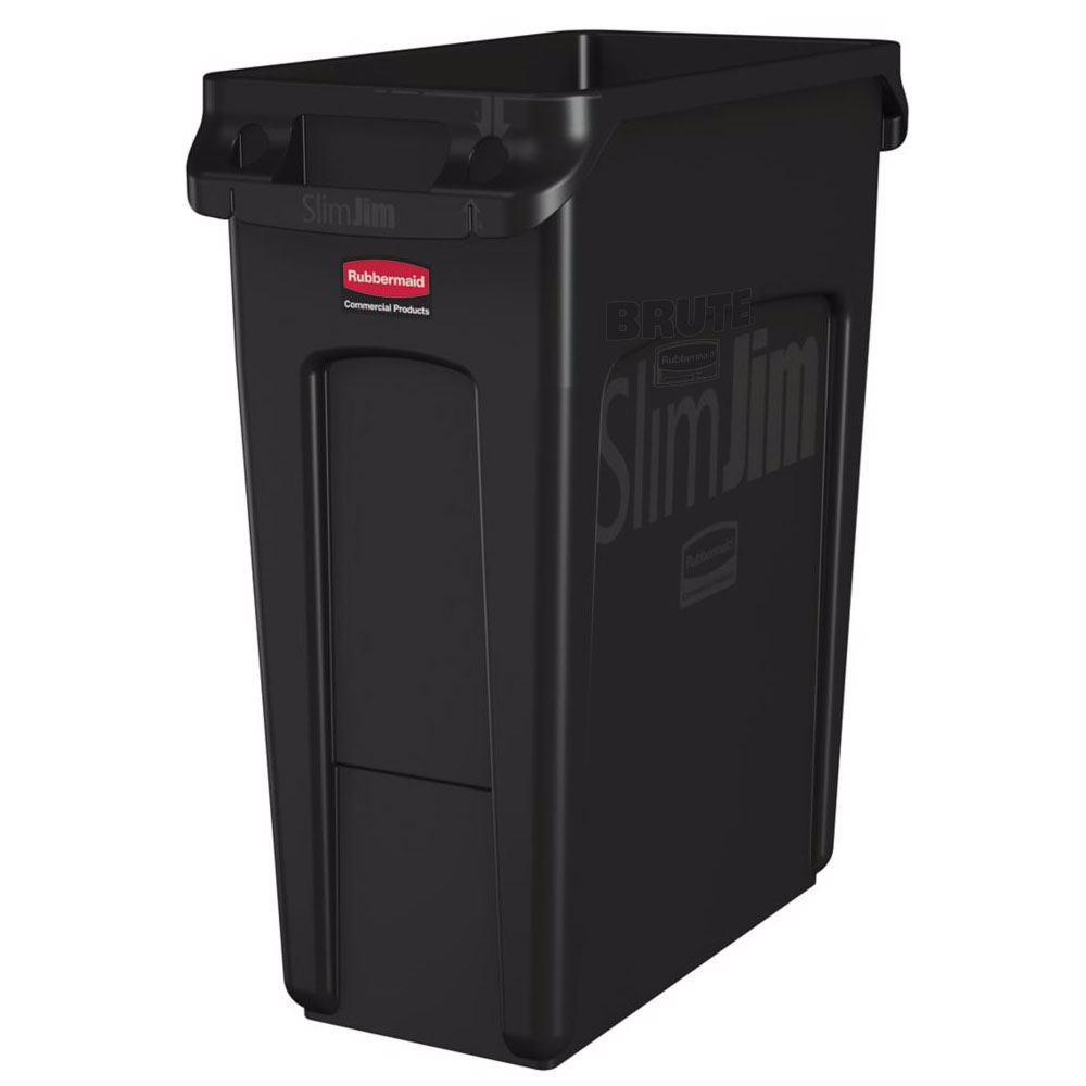 "Rubbermaid 1955959 16-gal Rectangle Slim Trash Can, 22""L x 11""W x 25""H, Black"