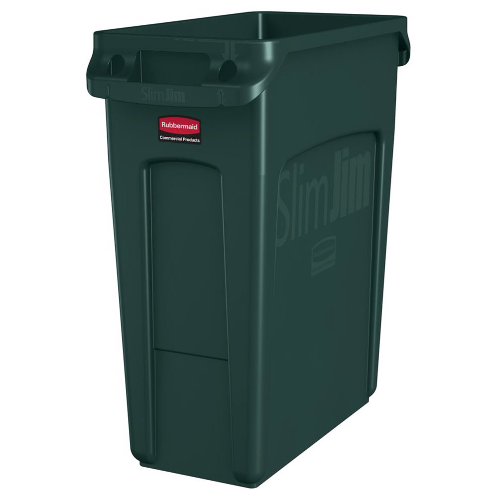"Rubbermaid 1955960 16-gal Rectangle Slim Trash Can, 22""L x 11""W x 25""H, Green"