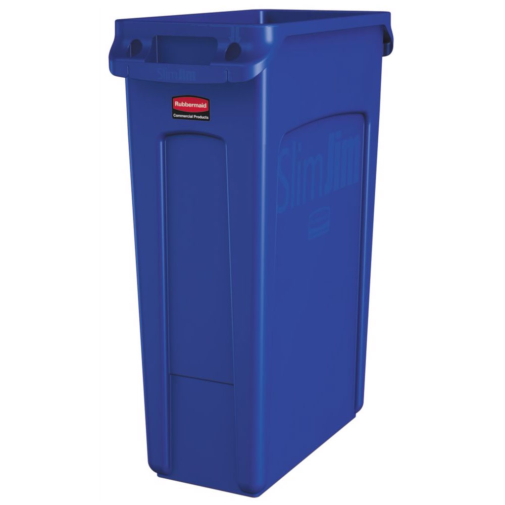 "Rubbermaid 1956185 23-gal Rectangle Slim Trash Can, 22""L x 11""W x 30""H, Blue"